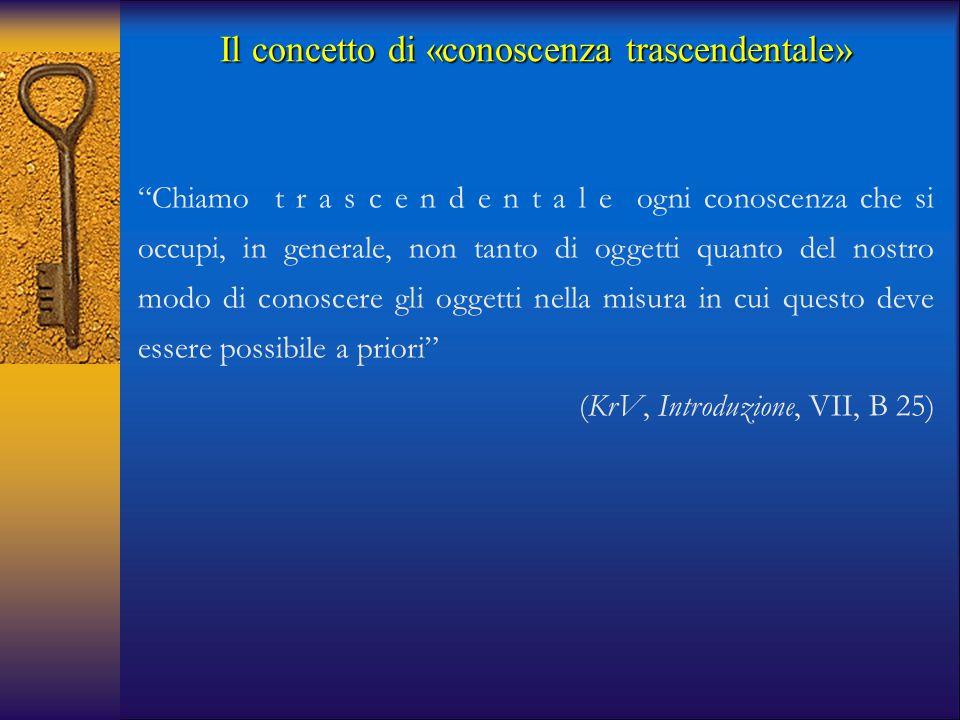 """Il concetto di «conoscenza trascendentale» """"Chiamo t r a s c e n d e n t a l e ogni conoscenza che si occupi, in generale, non tanto di oggetti quanto"""