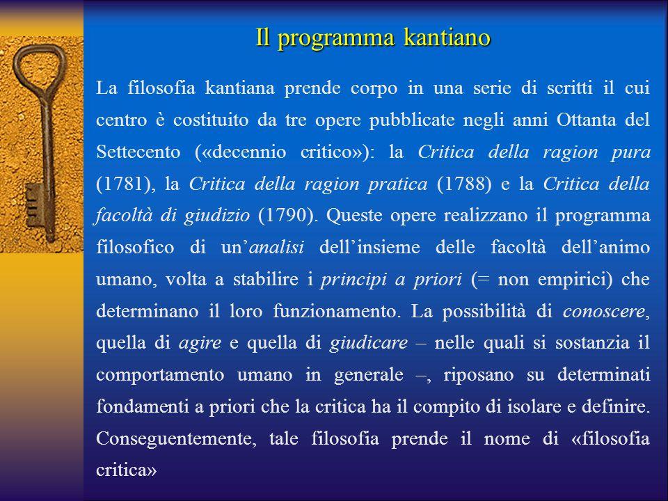 La filosofia kantiana prende corpo in una serie di scritti il cui centro è costituito da tre opere pubblicate negli anni Ottanta del Settecento («dece