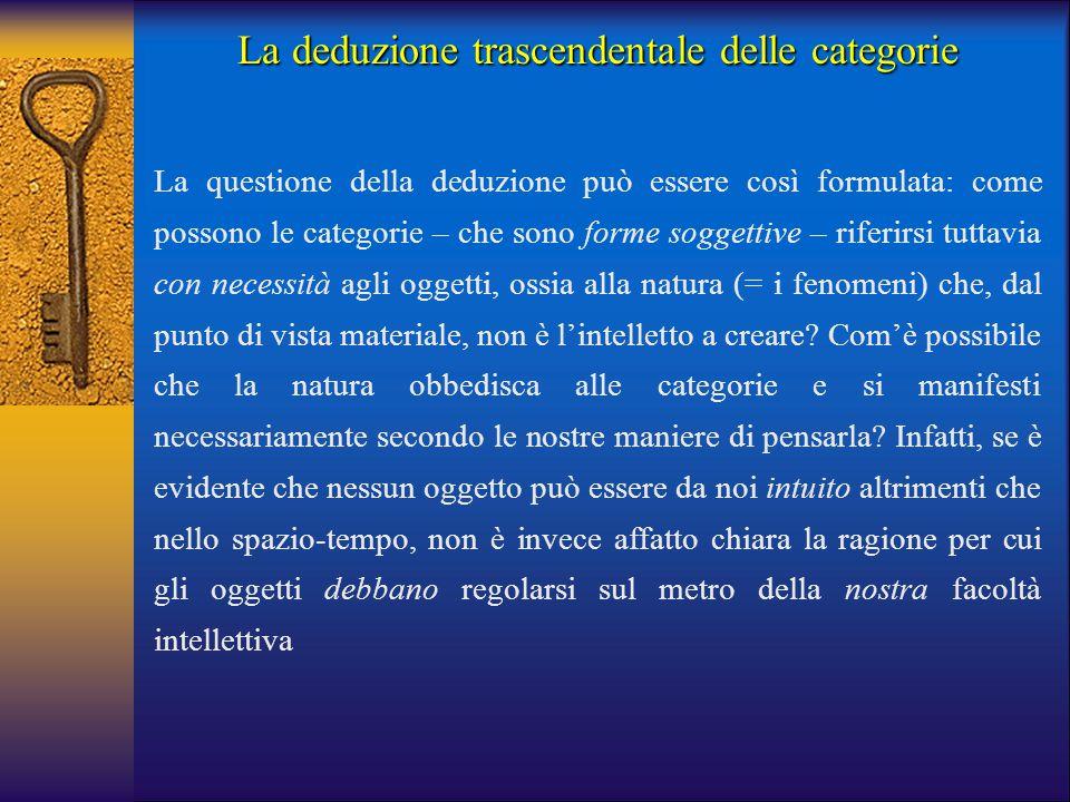 La deduzione trascendentale delle categorie La questione della deduzione può essere così formulata: come possono le categorie – che sono forme soggett