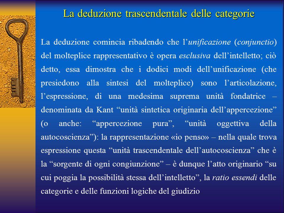 La deduzione trascendentale delle categorie La deduzione comincia ribadendo che l'unificazione (conjunctio) del molteplice rappresentativo è opera esc