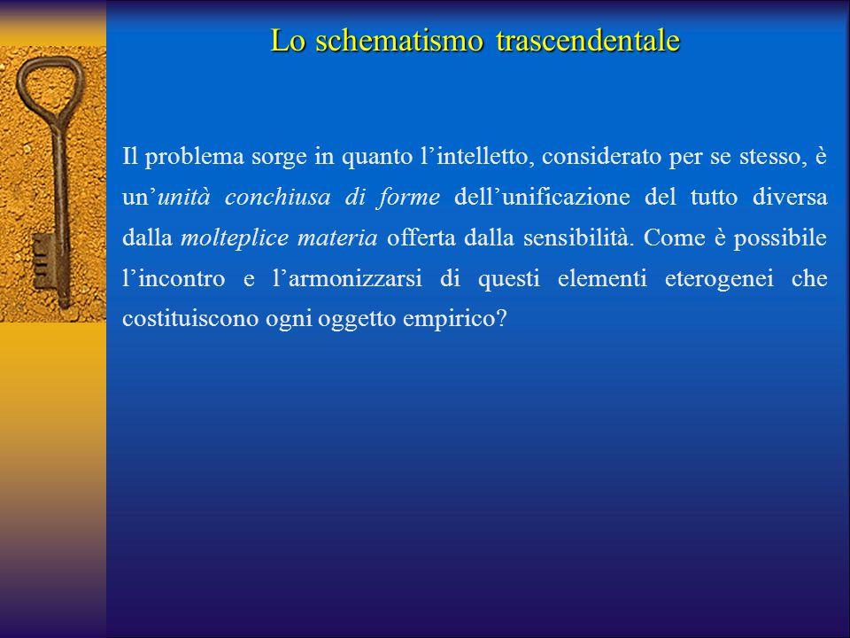 Lo schematismo trascendentale Il problema sorge in quanto l'intelletto, considerato per se stesso, è un'unità conchiusa di forme dell'unificazione del