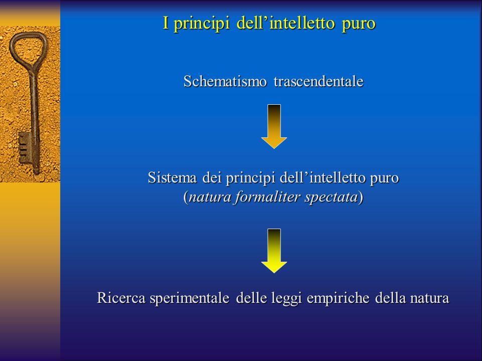 Schematismo trascendentale Sistema dei principi dell'intelletto puro (natura formaliter spectata) Ricerca sperimentale delle leggi empiriche della nat