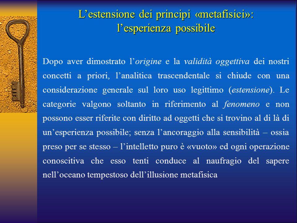 L'estensione dei principi «metafisici»: l'esperienza possibile Dopo aver dimostrato l'origine e la validità oggettiva dei nostri concetti a priori, l'