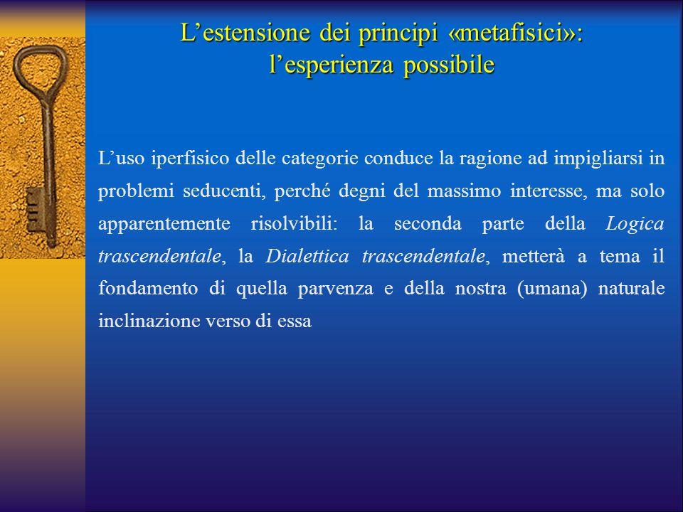 L'estensione dei principi «metafisici»: l'esperienza possibile L'uso iperfisico delle categorie conduce la ragione ad impigliarsi in problemi seducent