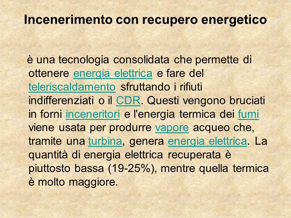 Incenerimento con recupero energetico è una tecnologia consolidata che permette di ottenere energia elettrica e fare del teleriscaldamento sfruttando