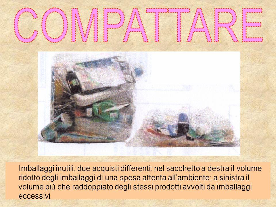 Imballaggi inutili: due acquisti differenti: nel sacchetto a destra il volume ridotto degli imballaggi di una spesa attenta all'ambiente; a sinistra i
