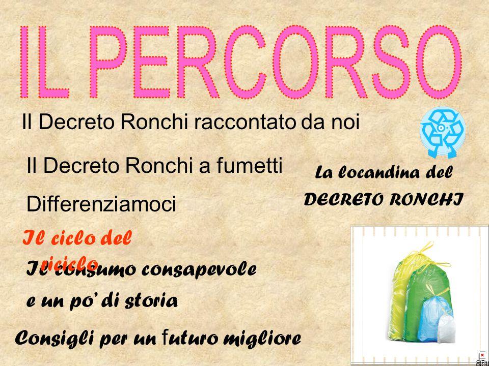 Il Decreto Ronchi raccontato da noi Il consumo consapevole e un po' di storia Il ciclo del riciclo Consigli per un f uturo migliore La locandina del D