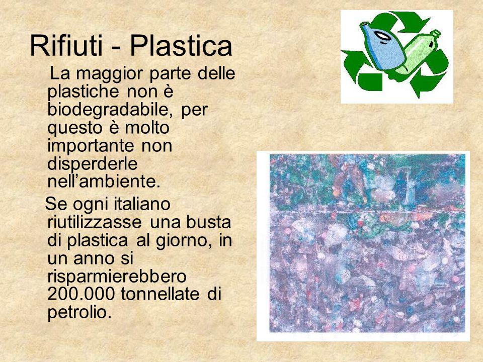 Rifiuti - Plastica La maggior parte delle plastiche non è biodegradabile, per questo è molto importante non disperderle nell'ambiente. Se ogni italian