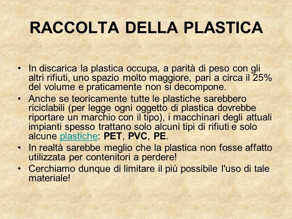 RACCOLTA DELLA PLASTICA In discarica la plastica occupa, a parità di peso con gli altri rifiuti, uno spazio molto maggiore, pari a circa il 25% del vo