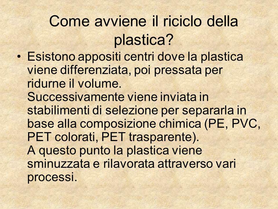 Come avviene il riciclo della plastica? Esistono appositi centri dove la plastica viene differenziata, poi pressata per ridurne il volume. Successivam