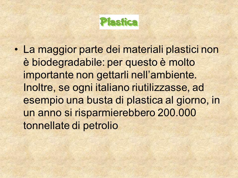 La maggior parte dei materiali plastici non è biodegradabile: per questo è molto importante non gettarli nell'ambiente. Inoltre, se ogni italiano riut