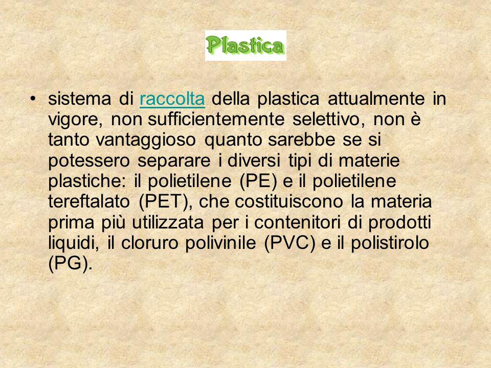 sistema di raccolta della plastica attualmente in vigore, non sufficientemente selettivo, non è tanto vantaggioso quanto sarebbe se si potessero separ