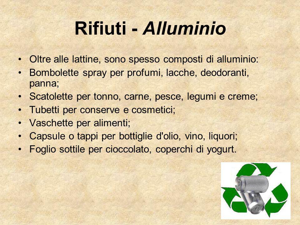 Oltre alle lattine, sono spesso composti di alluminio: Bombolette spray per profumi, lacche, deodoranti, panna; Scatolette per tonno, carne, pesce, le