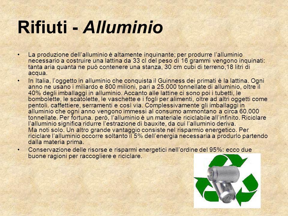 La produzione dell'alluminio è altamente inquinante; per produrre l'alluminio necessario a costruire una lattina da 33 cl del peso di 16 grammi vengon