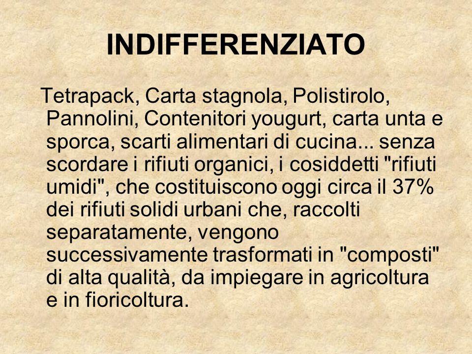 Tetrapack, Carta stagnola, Polistirolo, Pannolini, Contenitori yougurt, carta unta e sporca, scarti alimentari di cucina... senza scordare i rifiuti o