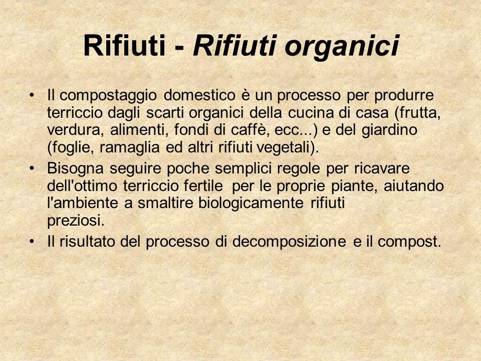 Rifiuti - Rifiuti organici Il compostaggio domestico è un processo per produrre terriccio dagli scarti organici della cucina di casa (frutta, verdura,