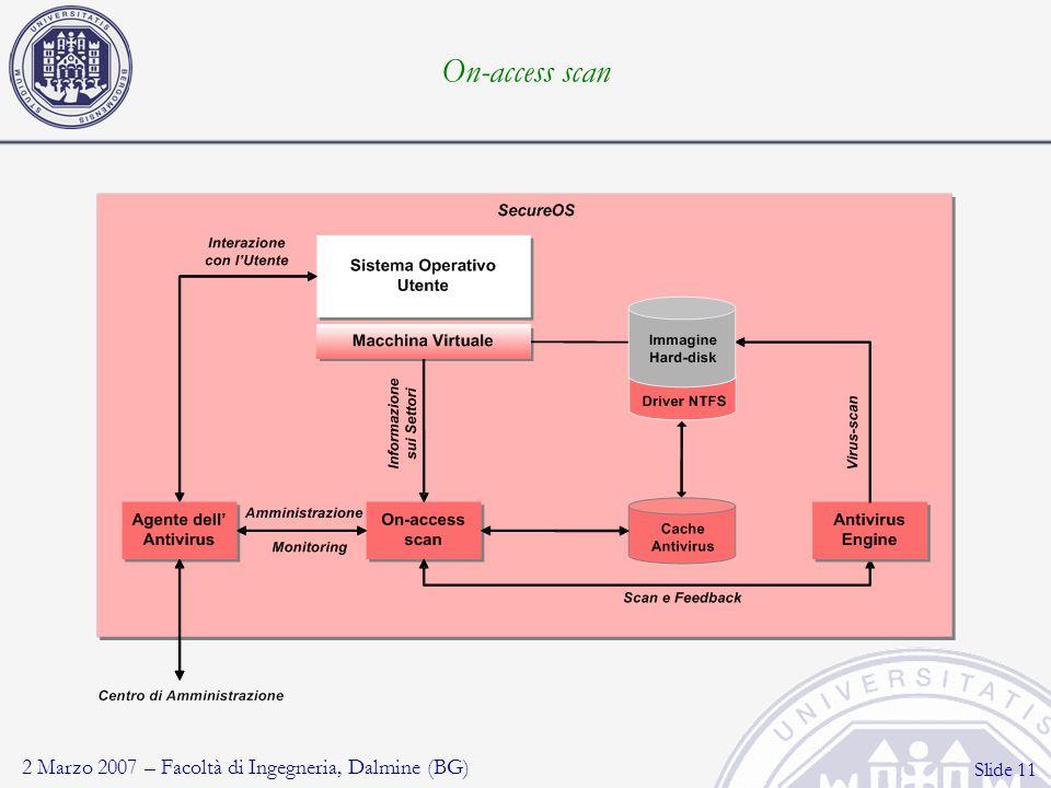 2 Marzo 2007 – Facoltà di Ingegneria, Dalmine (BG) Slide 11 On-access scan