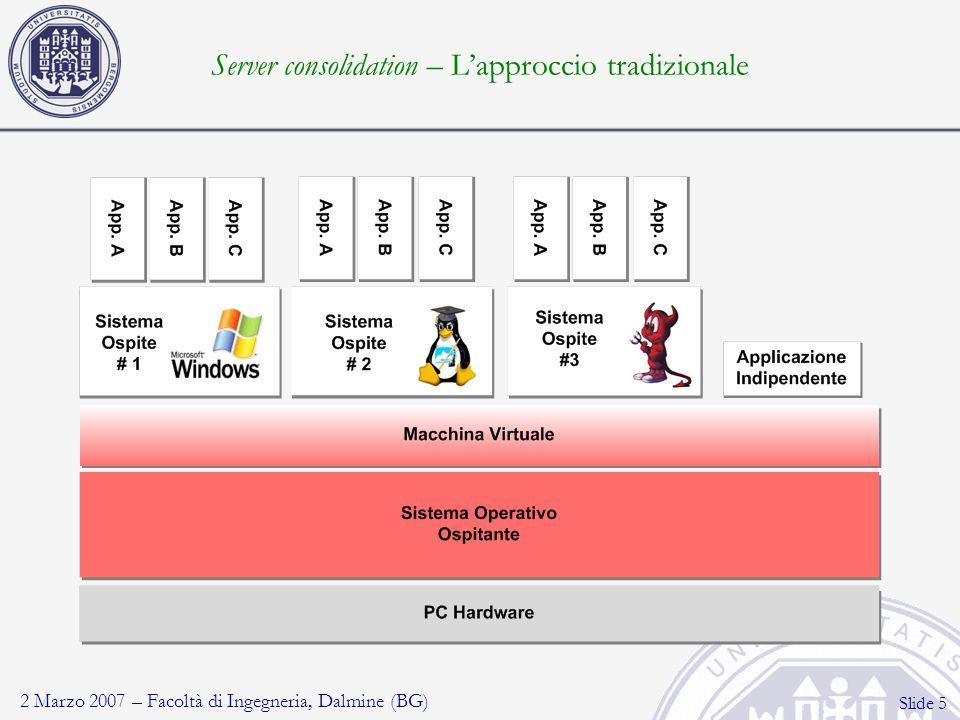 2 Marzo 2007 – Facoltà di Ingegneria, Dalmine (BG) Slide 16 Disk encryption (1) Impedire il furto di informazioni in caso di furti e smarrimenti Protezione globale: secureOS e Sistemi Utente Crittografia trasparente al Sistema Utente Crittografia forte: AES128 in modalità CBC-ESSIV Autenticazione pre-boot: password, token hardware Gestione centralizzata delle credenziali (recupero facile)