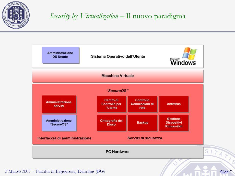 2 Marzo 2007 – Facoltà di Ingegneria, Dalmine (BG) Slide 8 Security by virtualization – Decentralizzazione