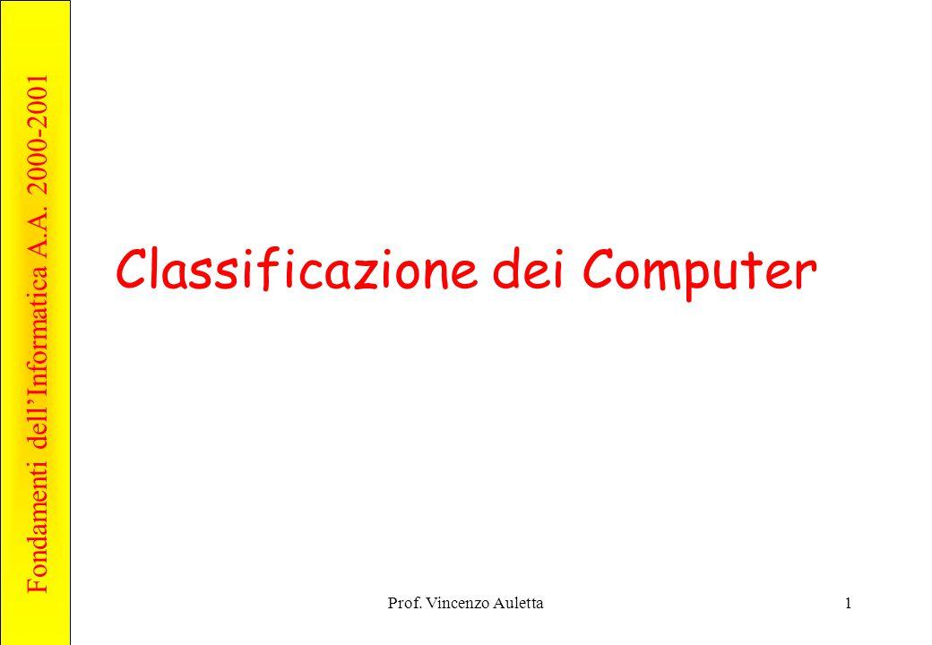 Fondamenti dell'Informatica A.A. 2000-2001 Prof. Vincenzo Auletta1 Classificazione dei Computer