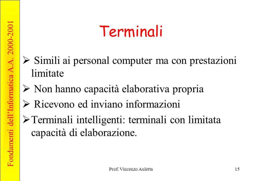 Fondamenti dell'Informatica A.A. 2000-2001 Prof.