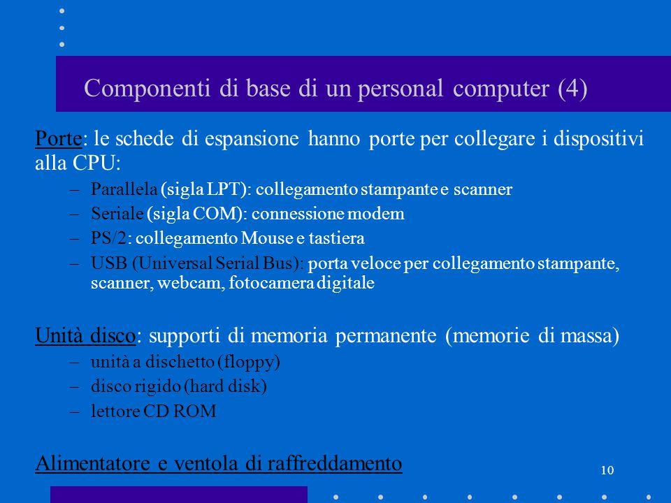 9 Componenti di base di un personal computer (3) Chip Memoria: chip che contengono i programmi in esecuzione e i dati temporanei su cui l'utente lavora (ROM e RAM) Clock: chip di supporto che scandisce il funzionamento dell'hardware Bus: circuiti per lo scambio di dati e istruzioni tra le varie componenti fissate sulla Matherboard Schede di espansione: schede che consentono ai vari dispositivi di comunicare con la CPU (p.e.: scheda video e scheda audio)