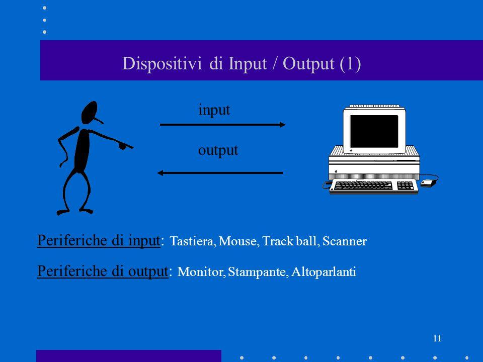 10 Componenti di base di un personal computer (4) Porte: le schede di espansione hanno porte per collegare i dispositivi alla CPU: –Parallela (sigla L