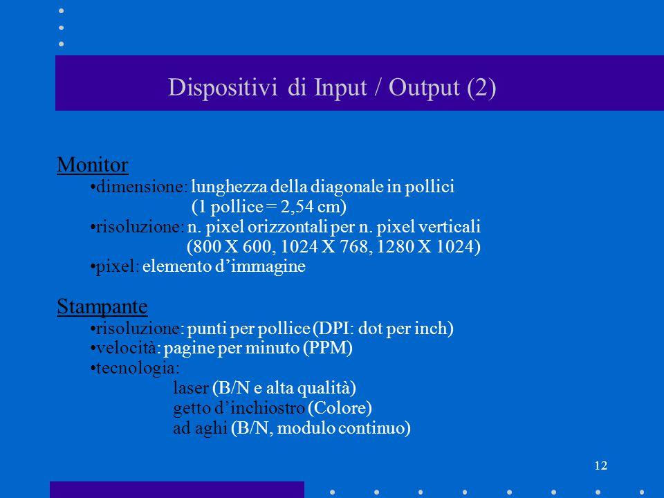 11 Dispositivi di Input / Output (1) input output Periferiche di input: Tastiera, Mouse, Track ball, Scanner Periferiche di output: Monitor, Stampante, Altoparlanti