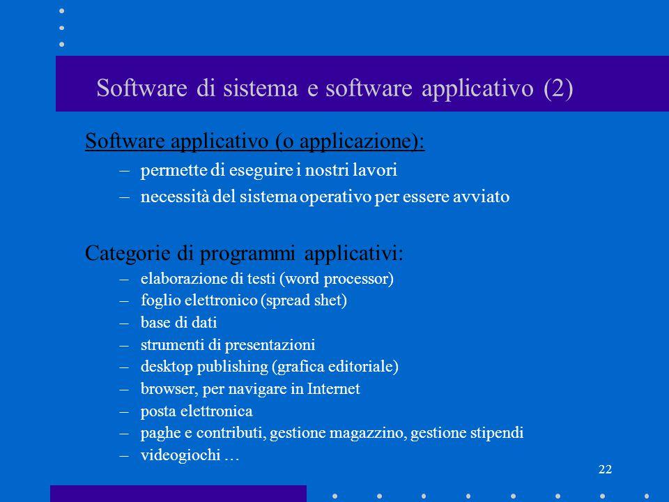 21 Software di sistema e software applicativo (1) Software di sistema (o di base o sistema operativo): –controlla l'hardware e consente il funzionamen