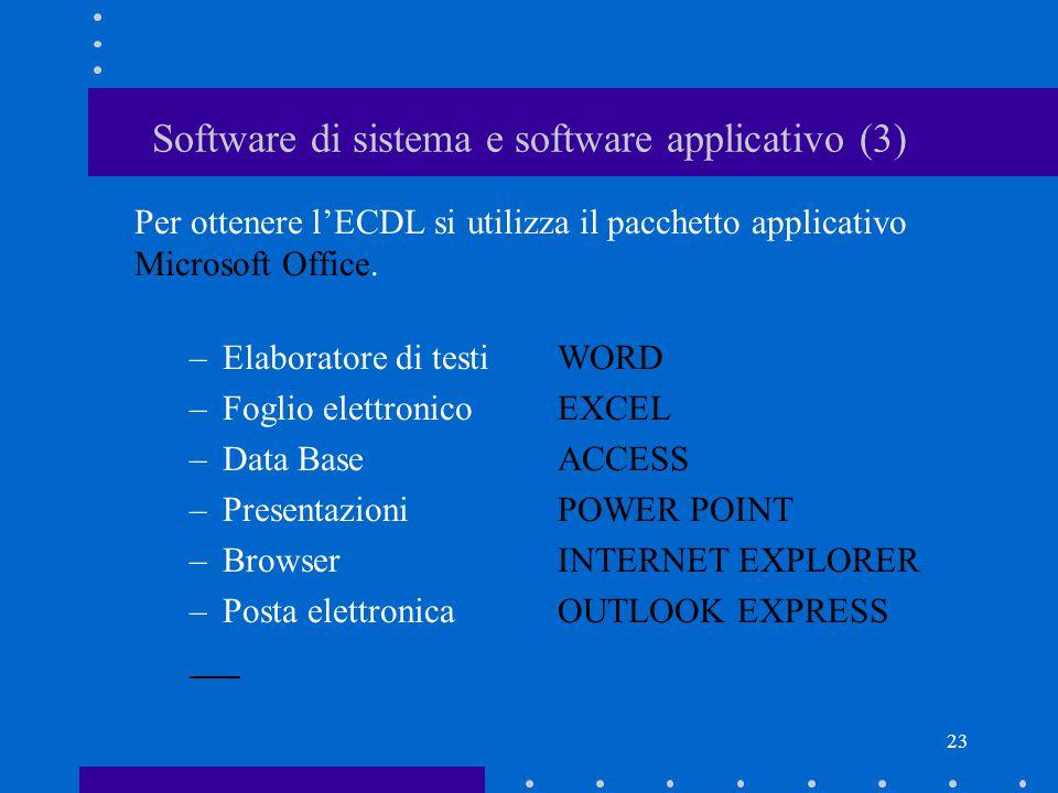 22 Software di sistema e software applicativo (2) Software applicativo (o applicazione): –permette di eseguire i nostri lavori –necessità del sistema
