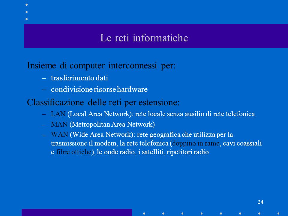 23 Software di sistema e software applicativo (3) Per ottenere l'ECDL si utilizza il pacchetto applicativo Microsoft Office.