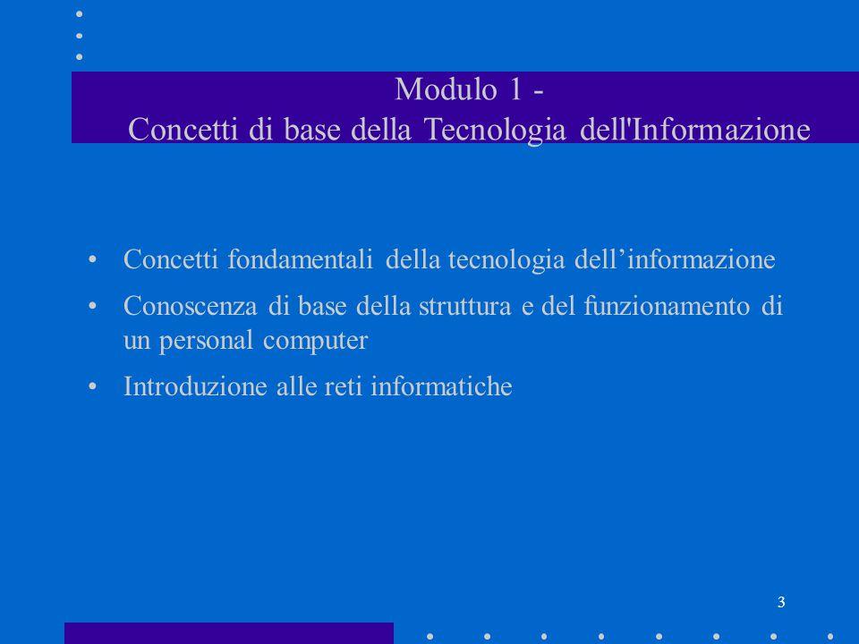 2 ECDL- European Computer Driving Licence La Patente Europea del computer Certificazione di competenze relative a: Modulo 1 - Concetti di base della T