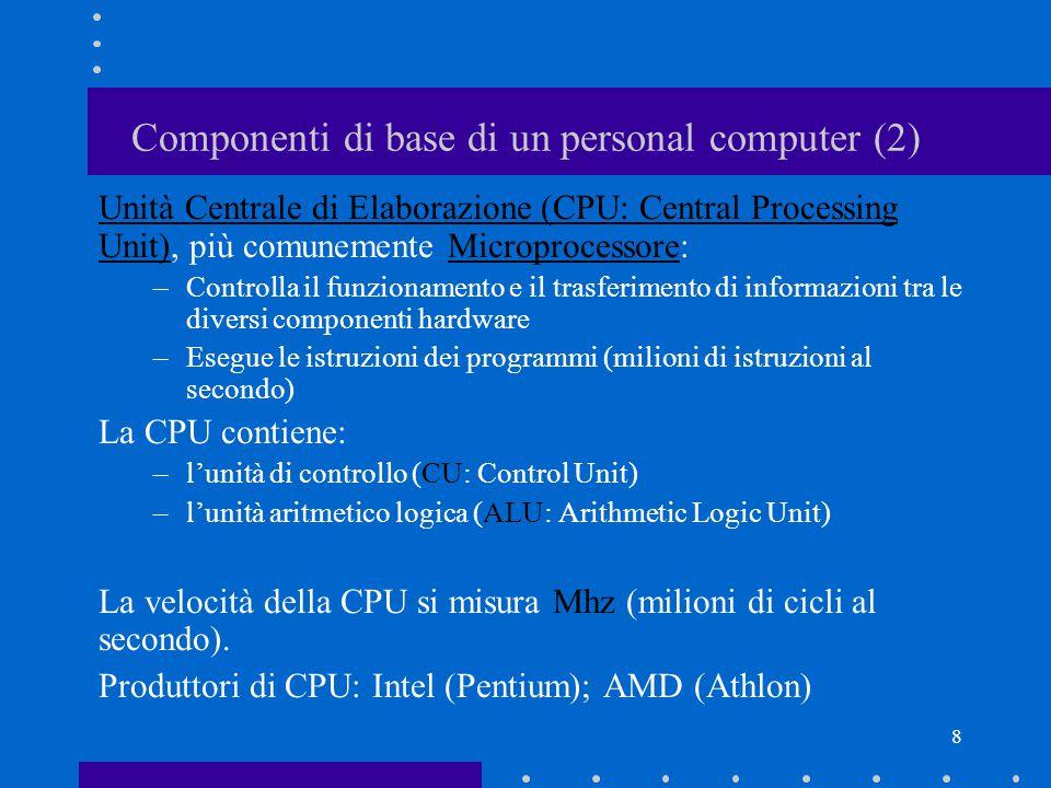 7 Componenti di base di un personal computer (1) Case: involucro del PC disposto verticalmente (tower) oppure orizzontalmente (standard) Scheda madre (Motherboard): scheda principale su cui sono alloggiate le componenti hardware.