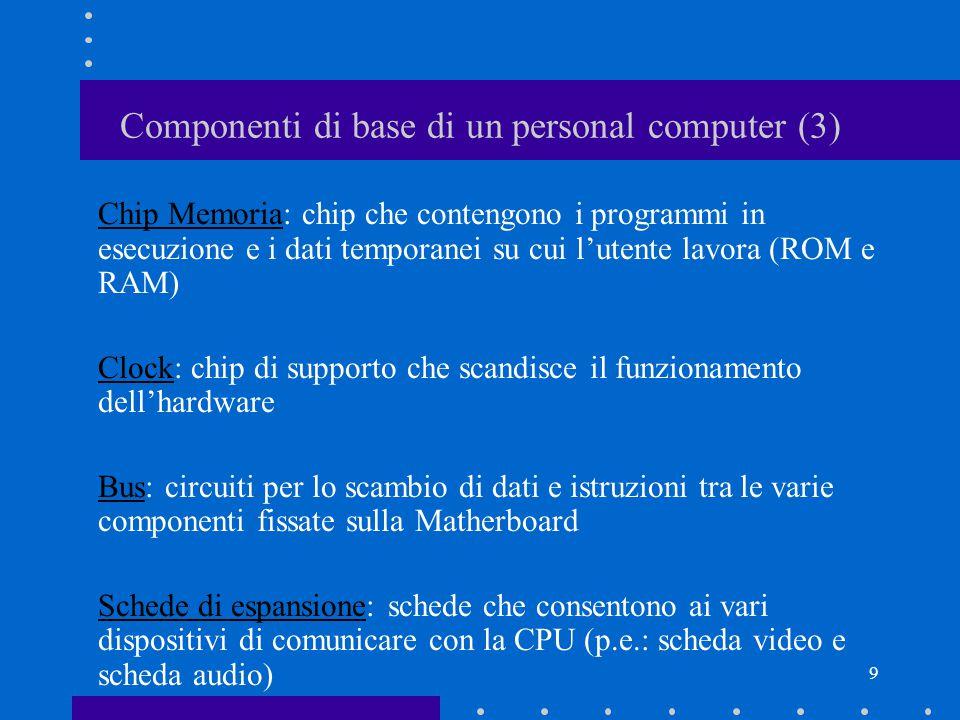 8 Componenti di base di un personal computer (2) Unità Centrale di Elaborazione (CPU: Central Processing Unit), più comunemente Microprocessore: –Controlla il funzionamento e il trasferimento di informazioni tra le diversi componenti hardware –Esegue le istruzioni dei programmi (milioni di istruzioni al secondo) La CPU contiene: –l'unità di controllo (CU: Control Unit) –l'unità aritmetico logica (ALU: Arithmetic Logic Unit) La velocità della CPU si misura Mhz (milioni di cicli al secondo).