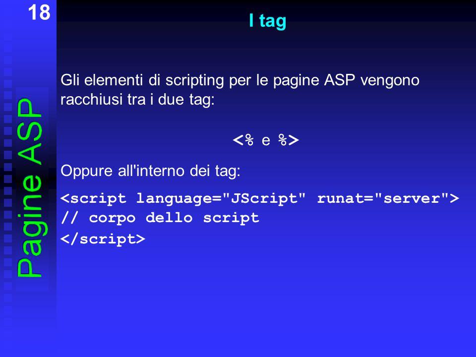 18 I tag Gli elementi di scripting per le pagine ASP vengono racchiusi tra i due tag: Oppure all'interno dei tag: // corpo dello script