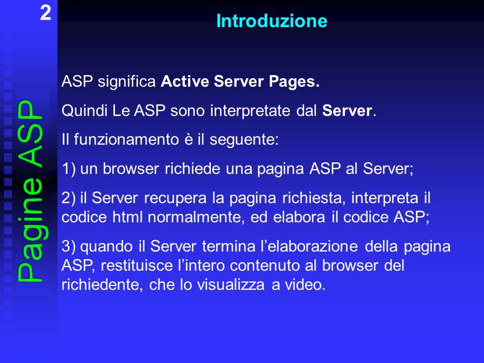 2 Introduzione ASP significa Active Server Pages. Quindi Le ASP sono interpretate dal Server. Il funzionamento è il seguente: 1) un browser richiede u