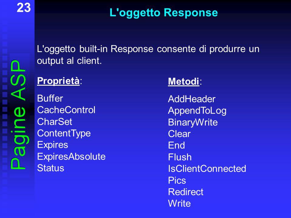 23 L'oggetto Response L'oggetto built-in Response consente di produrre un output al client. Proprietà: Buffer CacheControl CharSet ContentType Expires