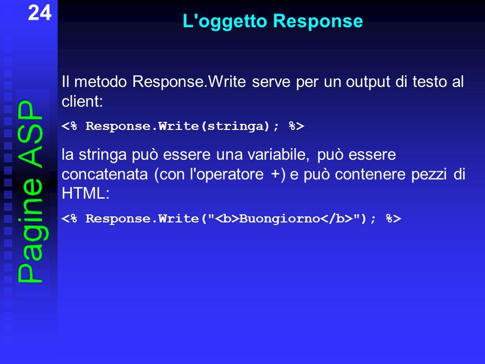 24 L oggetto Response Il metodo Response.Write serve per un output di testo al client: la stringa può essere una variabile, può essere concatenata (con l operatore +) e può contenere pezzi di HTML: Buongiorno ); %>