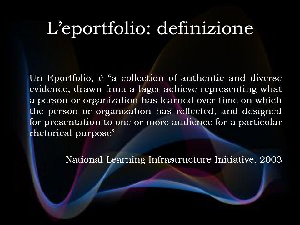 "L'eportfolio: definizione Un Eportfolio, è ""a collection of authentic and diverse evidence, drawn from a lager achieve representing what a person or o"