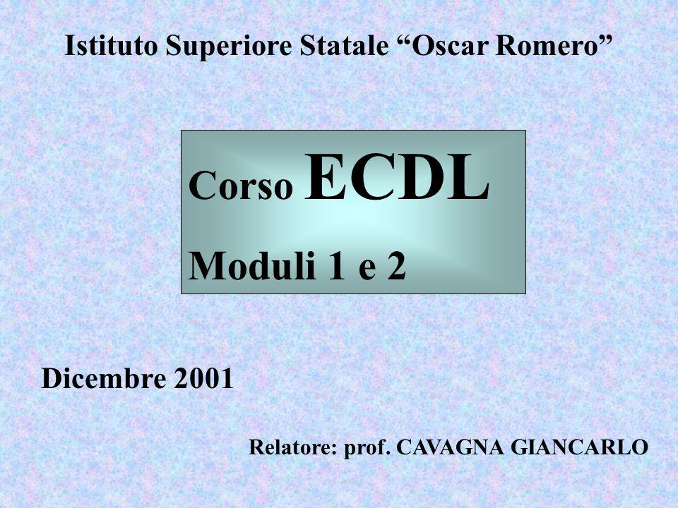 """Istituto Superiore Statale """"Oscar Romero"""" Dicembre 2001 Relatore: prof. CAVAGNA GIANCARLO Corso ECDL Moduli 1 e 2"""