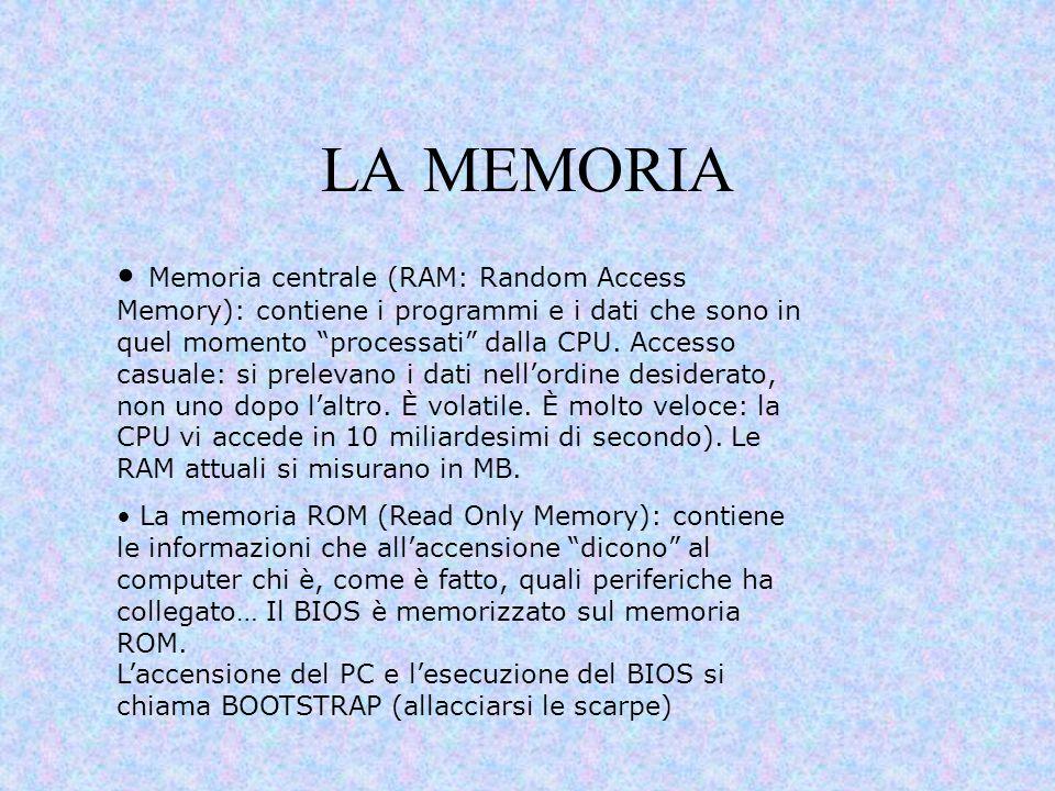 """LA MEMORIA Memoria centrale (RAM: Random Access Memory): contiene i programmi e i dati che sono in quel momento """"processati"""" dalla CPU. Accesso casual"""