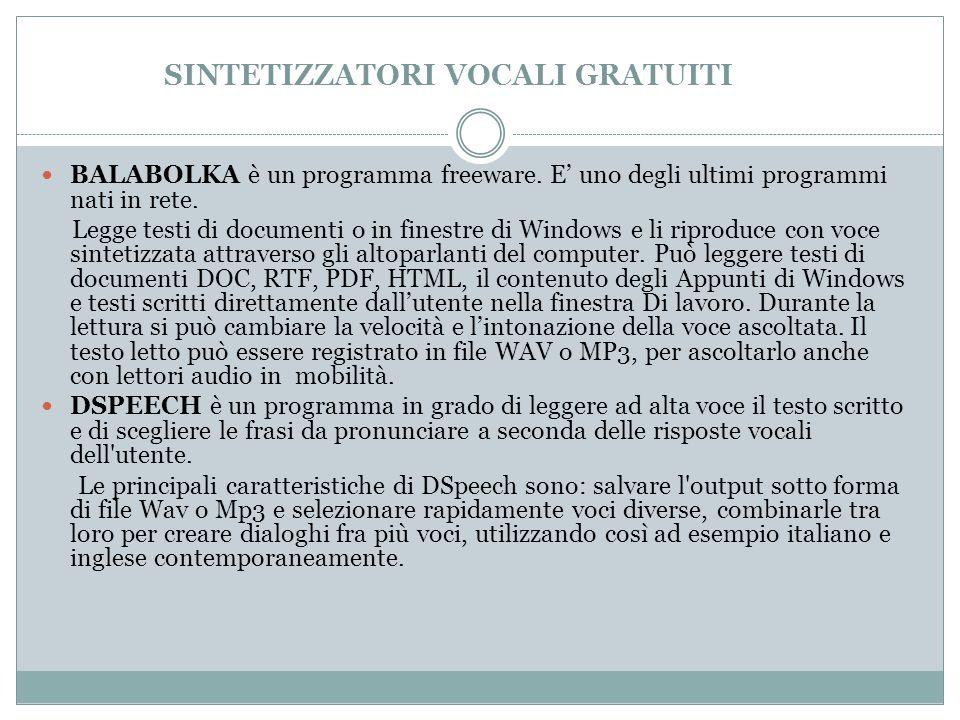 SINTETIZZATORI VOCALI GRATUITI BALABOLKA è un programma freeware.