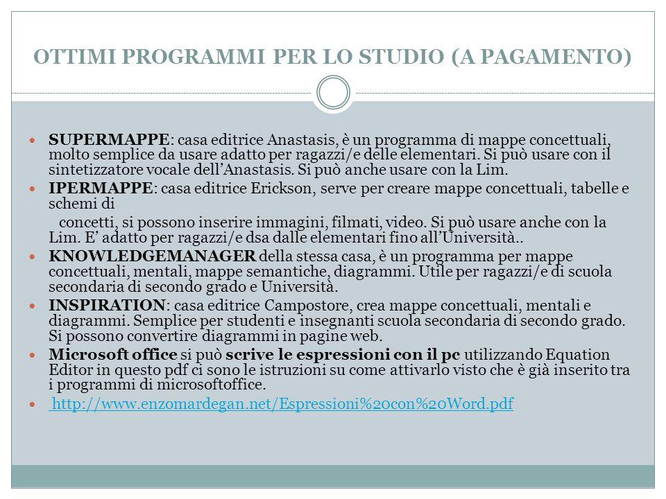 OTTIMI PROGRAMMI PER LO STUDIO (A PAGAMENTO) SUPERMAPPE: casa editrice Anastasis, è un programma di mappe concettuali, molto semplice da usare adatto per ragazzi/e delle elementari.