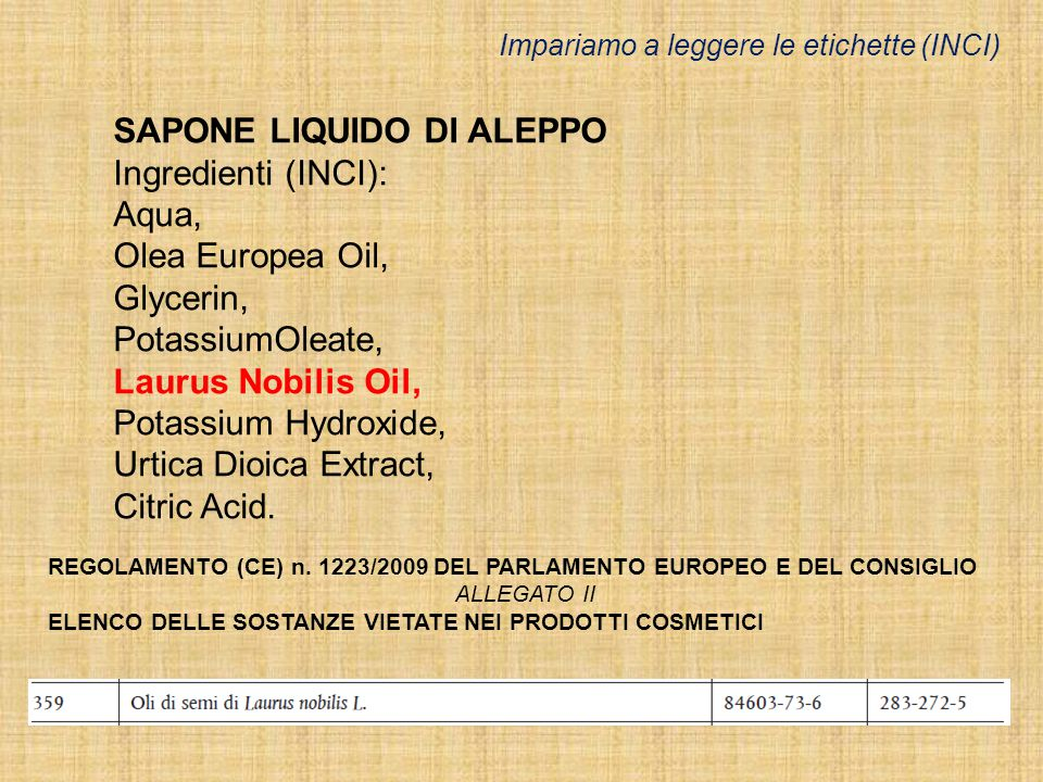 SAPONE LIQUIDO DI ALEPPO Ingredienti (INCI): Aqua, Olea Europea Oil, Glycerin, PotassiumOleate, Laurus Nobilis Oil, Potassium Hydroxide, Urtica Dioica Extract, Citric Acid.