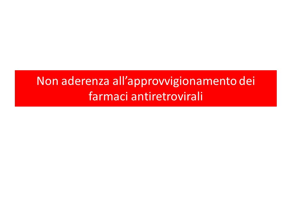 Non aderenza all'approvvigionamento dei farmaci antiretrovirali