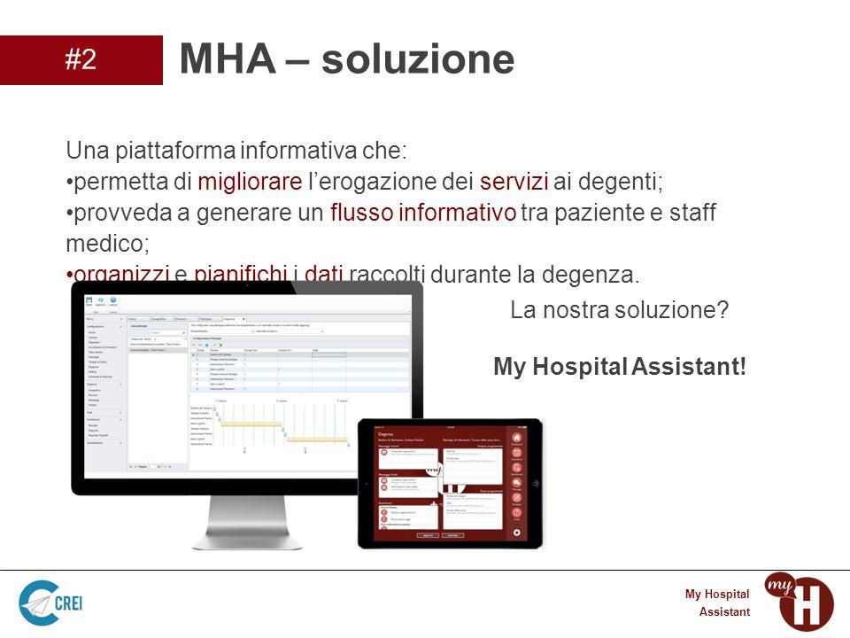 3 My Hospital Assistant Una piattaforma informativa che: permetta di migliorare l'erogazione dei servizi ai degenti; provveda a generare un flusso informativo tra paziente e staff medico; organizzi e pianifichi i dati raccolti durante la degenza.