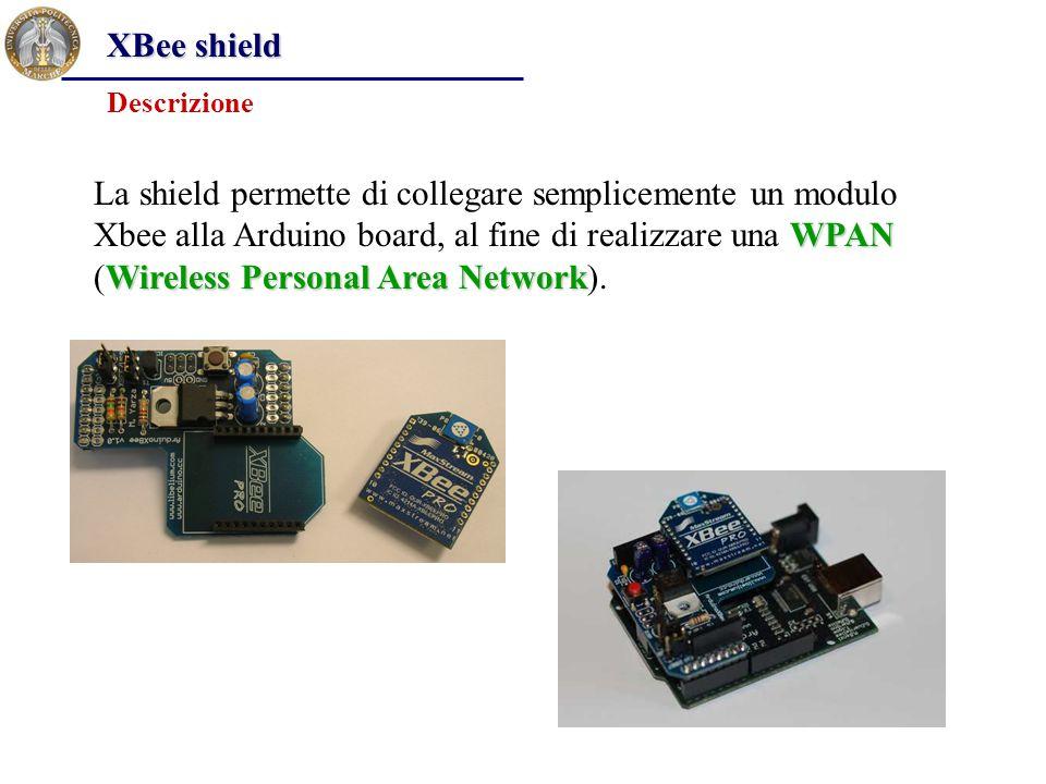 XBee shield Descrizione WPAN Wireless Personal Area Network La shield permette di collegare semplicemente un modulo Xbee alla Arduino board, al fine d