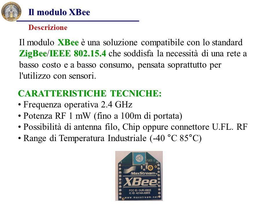 Il modulo XBee XBee ZigBeeIEEE 802.15.4 Il modulo XBee è una soluzione compatibile con lo standard ZigBee/IEEE 802.15.4 che soddisfa la necessità di u