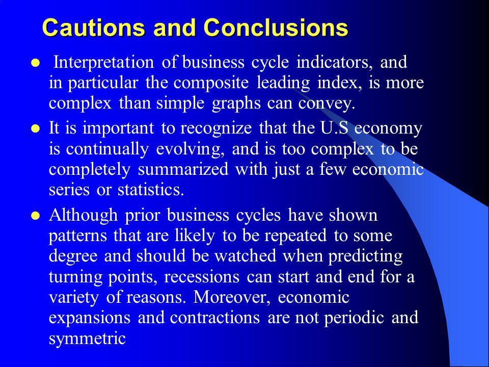 Cautions and Conclusions Interpretation of business cycle indicators, and in particular the composite leading index, is more complex than simple graph