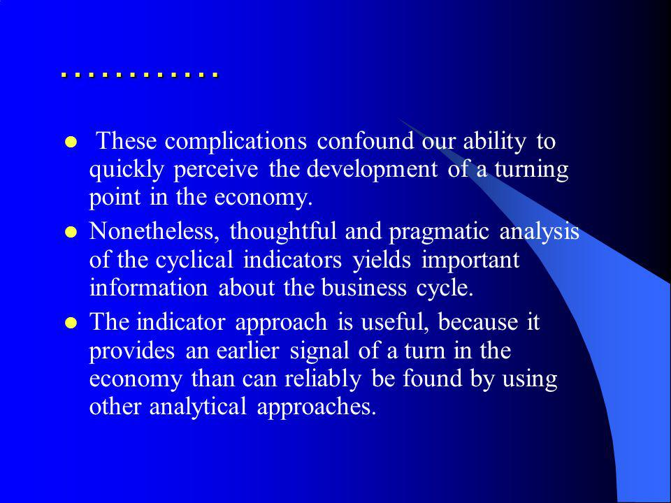 ………… These complications confound our ability to quickly perceive the development of a turning point in the economy. Nonetheless, thoughtful and pragm